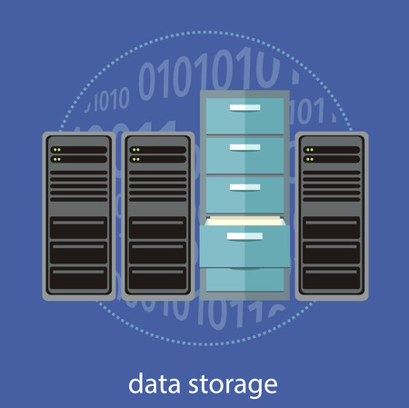 rack server: Cloud computing, render farms, data centers, storage, servers, high-performance workstations and networks. Concept in flat design style. Can be used for web banners, marketing and promotional materials, presentation templates
