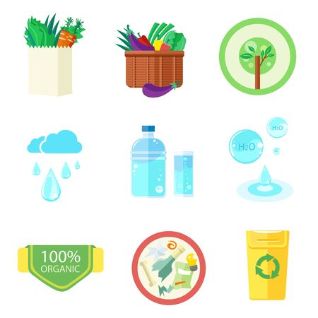 food waste: Clean water, organic food and waste recycling. Set of nature and organic icons in flat design, bio and environment concept on banners