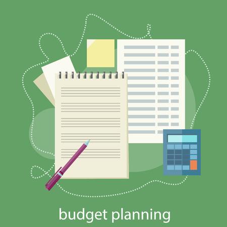 Lo que representa el análisis del mercado de valores financieros. Presupuesto planificación concepto. Ilustración de vector