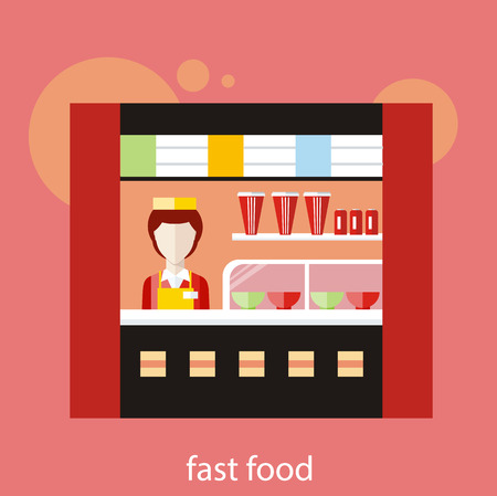 open sandwich: Fast food restaurant. Woman behind the counter in restaurant. Concept in flat design Illustration