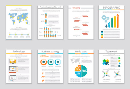 visualization: Set of infographic business brochures banners. Modern stylized graphics for data visualization. Can be used for web banners, marketing and promotional materials, flyers, presentation templates