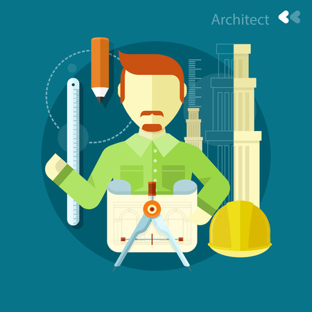 architect tools: Vertical portrait of a happy architect constructor worker at his work place with tools for drawing. Concept in flat design
