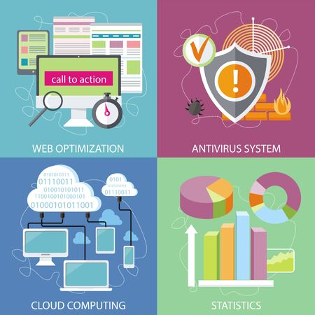parameters: Charts graphs and parameters. Statistic business concept of analytics. Shield antivirus. Antivirus system. Cloud services concept. SEO optimization, programming process and web analytics elements in flat design Illustration