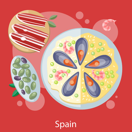 spanish food: Paella traditional Spanish meal with rice and seafood. Spain food concept in flat design