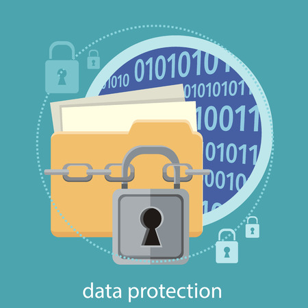 Dossier jaune et verrou. concept de sécurité des données. Protection des données et la sécurité au travail. Concept dans le style de design plat. Peut être utilisé pour les bannières web, le marketing et le matériel promotionnel, les modèles de présentation Banque d'images - 37648328