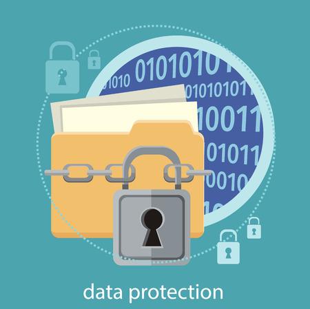 Gele map en slot. Beveiliging van gegevens concept. Gegevensbescherming en veilig werken. Concept in platte design stijl. Kan gebruikt worden voor web-banners, marketing- en promotiemateriaal, presentatiesjablonen