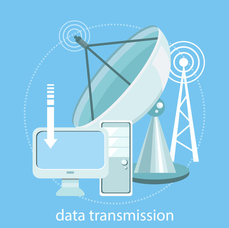 wireless communication: Digital concept of satellite dish transmission data. Wireless icons for wifi remote control access and radio communication. Concept in flat design style. For web banners, marketing and promotional materials Illustration