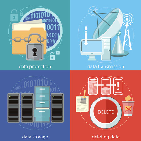 Deleting data files from folder to recycle bin. Yellow folder and lock. Data security concept. Satellite dish transmission data. Cloud computing, render farms, data centers, servers, high-performance workstations and networks Иллюстрация