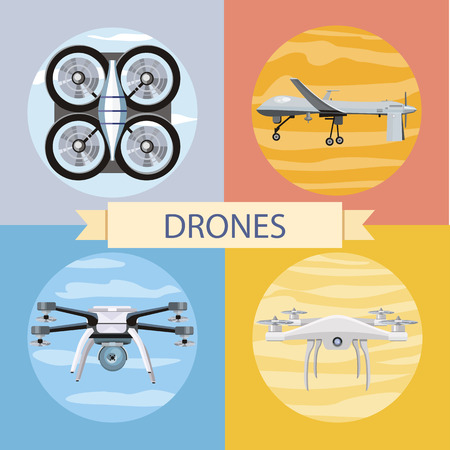 photography icons: Drone flying for aerial photography or video shooting. Set of different quadrocopters icons. Concept in flat design style. Can be used for web banners, marketing and promotional materials, presentation templates Illustration
