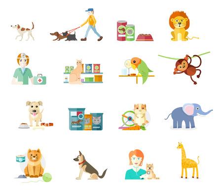 Icon set met huis dieren silhouetten van dieren op een witte achtergrond. Hamster, papegaai, kat, olifanten, giraffen, apen en hond in plat ontwerp cartoon-stijl