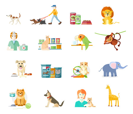 pets background: Icon set with home animals silhouettes of pets isolated on white background. Hamster, parrot, cat, elephant, giraffe, monkey and dog in flat design cartoon style