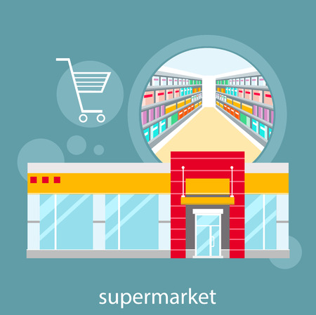 grocery shelves: Flat design concepts of supermarket general store, shopping mall and fashion store
