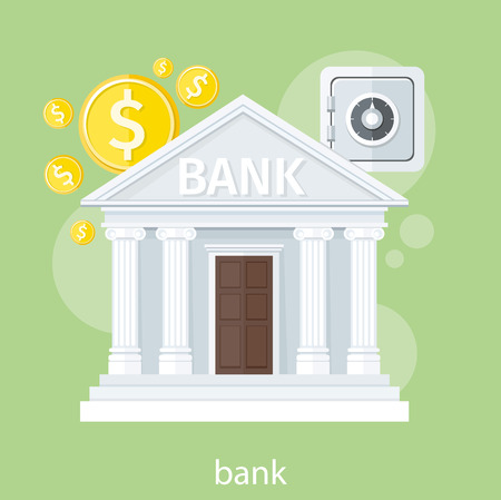 Bank office symbol with ATM dollars and safe icon. Banking concept in flat design