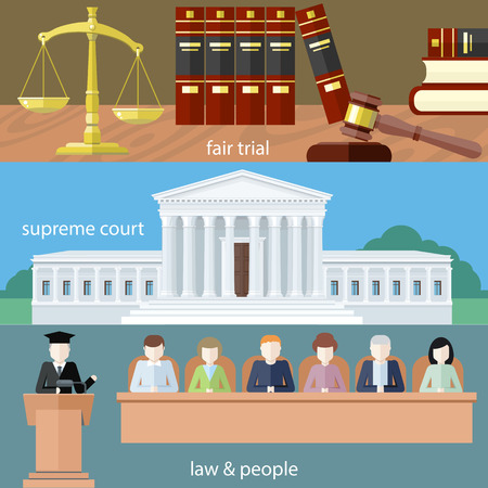 Hombre en la corte. Abogado iconos concepto. Juicio justo. Corte Suprema. Derecho y personas. Concepto de estilo de diseño plano. Puede ser utilizado para la web banners, marketing y materiales de promoción, plantillas de presentación Ilustración de vector