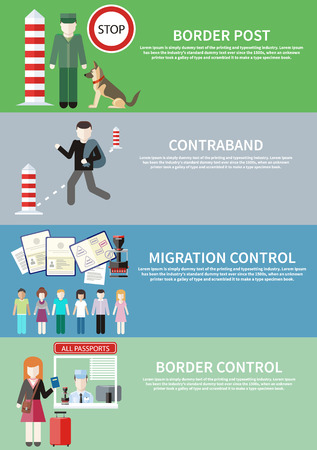 migraci�n: Hombre lleva contrabando en bolsa. Control de la migraci�n. Grupo de personas con sellos en los pasaportes. Mujer da un pasaporte para comprobar los funcionarios de aduanas. Funcionario de aduanas con el perro en puesto aduanero Vectores