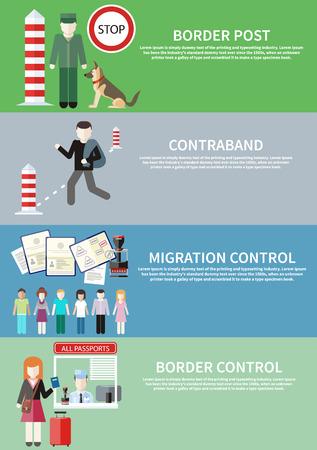 passeport: L'homme porte la contrebande dans le sac. contrôle de la migration. Groupe de personnes atteintes de cachet dans le passeport. La femme donne un passeport pour vérifier les agents des douanes. Agent des douanes avec un chien au poste de douane Illustration