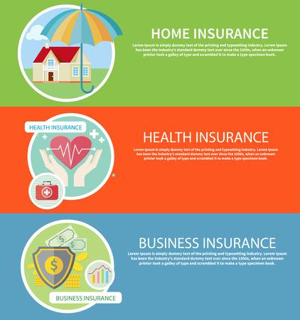 ホーム保険、健康保険、ビジネス リスク保険の概念を保険のアイコンに設定します。フラットなデザインの概念