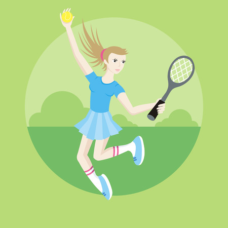 girl tennis: Tennis sport concept with item icons. Portrait of sporty girl tennis player with racket in flat design cartoon style Illustration