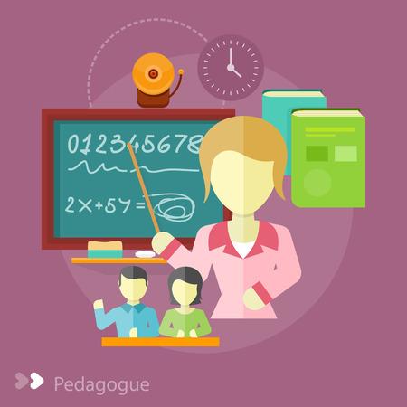 herrin: Hübscher Lehrer mit einem Zeiger. Pädagogin Konzept in flache Bauform