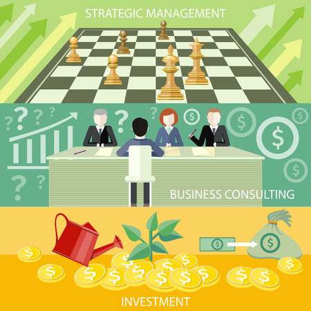 strategic management: Money tree with coins watered from watering can. Investment concept. Business partners sitting at table and discussing documents and ideas at meeting. Business consulting. Business strategic management formation in chess game