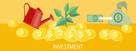 investment concept: Money tree with coins watered from a watering can. Investment concept. Concept in flat design style. Can be used for web banners, marketing and promotional materials, presentation templates