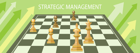 strategic management: Business strategic management formation in the chess game. Concept in flat design style. Can be used for web banners, marketing and promotional materials, presentation templates Illustration