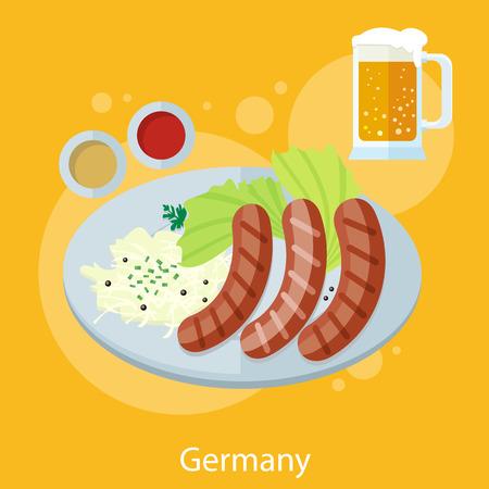 oktoberfest food: Set of Oktoberfest germany food and design elements
