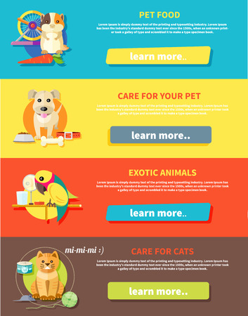 Icon set met huis dieren silhouetten van huisdieren op veelkleurige stijlvolle banners. Hamster, papegaai, kat en hond in platte ontwerp cartoon-stijl Stock Illustratie