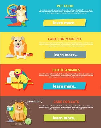 veterinary: Icono de conjunto con los animales caseros siluetas de animales dom�sticos en banners elegantes multicolor. Hamster, loro, gato y perro en estilo de dibujos animados dise�o plano
