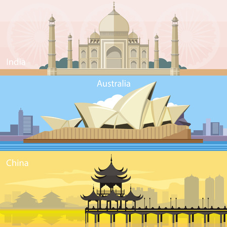 Sydney Opera House in Australian, chinese-style buildings near the river in China and Taj Mahal building in India. Consepts in flat design on banners
