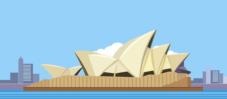 The flat design of the Australian symbol and its environs in the background of the city. Sydney Opera House 向量圖像