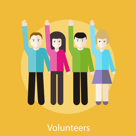 volunteers: Volunteer group raising hands against. Concept in flat design style. Can be used for web banners, marketing and promotional materials, presentation templates Illustration