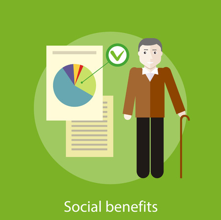 Grandpa with documents of social benefits. Concept in flat design style. Can be used for web banners, marketing and promotional materials, presentation templates