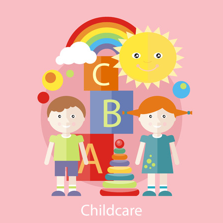 childcare: Kids playing construction in the room. Concept of childcare in flat design style. Can be used for web banners, marketing and promotional materials, presentation templates Illustration