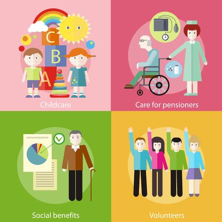 seguridad social: Grupo voluntario que levanta las manos en contra. Abuelo con los documentos de los beneficios sociales. Enfermera que toma el cuidado de paciente mayor en silla de ruedas. Niños jugando construcción en la habitación