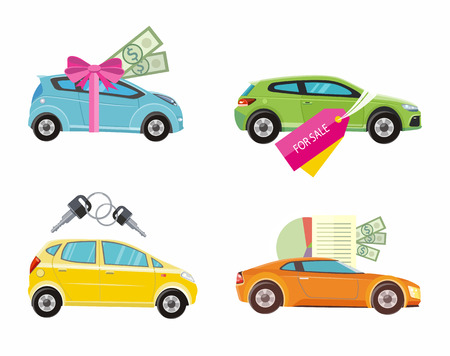 loans: Car loan approved document with dollars money. Buying car concept. Gift car and red ribbon with dollars money. Car sale. Rent a car concept in flat design
