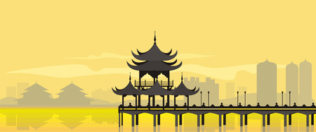 yellow china: The flat design of the building in an asian style near the water in yellow. China National Building