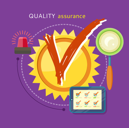 quality service: Quality assured sign grunge rubber stamp on stylish background. Concept in flat design style. Can be used for web banners, marketing and promotional materials, presentation templates