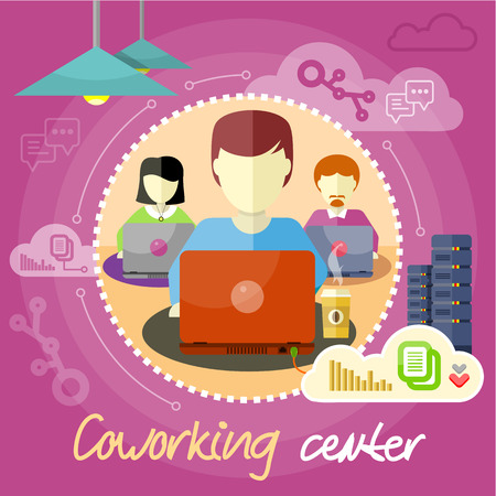 office environment: Coworking center concept. Co-working item icons. Business meeting in flat design. Shared working environment. People work with laptops