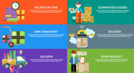 Konzept der Dienstleistungen in den Anlieferungswaren. Online-Shopping und weltweitem Versand. Können für Web-Banner, Marketing- und Werbematerialien, Präsentationsvorlagen verwendet werden Illustration