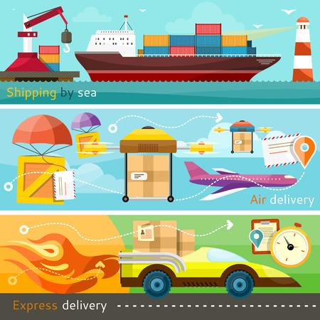 shipping: Air mail, delivery of the ship, maritime shipping and logistics network flat design concepts on banners. Shipping, delivery car, ship, plane transport and express delivery.