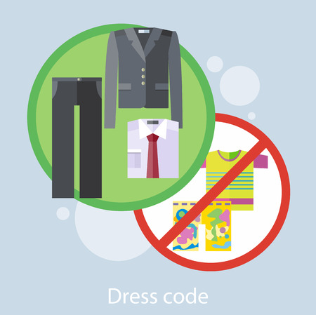 dress code: Dress code for the celebrations. Concept in flat design style. Can be used for web banners, marketing and promotional materials, presentation templates