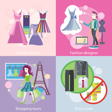 dress code: Dress code for the celebrations. Beautiful woman with a lot of shopping bags. Lifestyle shopping tours. Fashion designer working on his designs. Modern and elegant dresses for fashion design