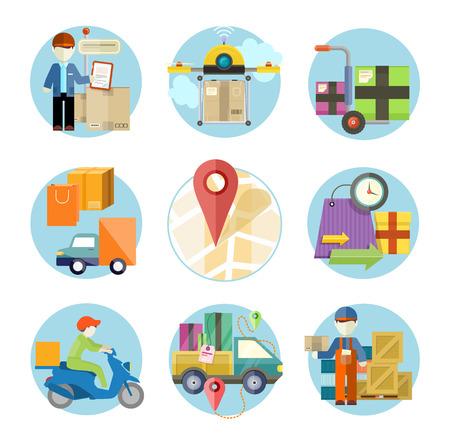 Concept van de diensten in de levering goederen. Online winkelen en wereldwijde verzending. Kan gebruikt worden voor web-banners, marketing- en promotiemateriaal, presentatiesjablonen