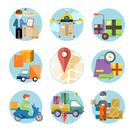 Concept of services in delivery goods. Online shopping and worldwide shipping. Can be used for web banners, marketing and promotional materials, presentation templates