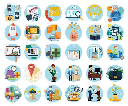 earnings: Set flache Ikonen der Ergebnisrechnung, Transport und Marktanalyse, Online-Gesch�ft, Dokumente, E-Mails, Idee, Inbetriebnahme, Lieferung von Waren, Analyse, Treffen, Performance, Investitionen, Marketing