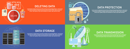 data centers: Deleting data files from folder to recycle bin. Yellow folder and lock. Data security concept. Satellite dish transmission data. Cloud computing, render farms, data centers, servers, high-performance workstations and networks Illustration
