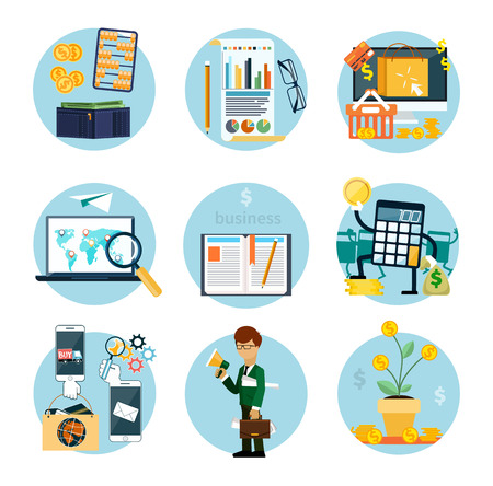 contributions: Set of flat icons of earnings, accounts, transport and market analysis, online business, documents, e-mail, idea, start up, analysis, meeting, performance, investment, marketing
