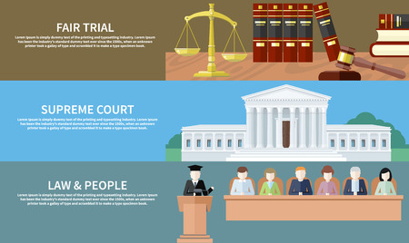 supreme court: Man in court. Lawyer icons concept. Fair trial. Supreme court. Law and people. Concept in flat design style. Can be used for web banners, marketing and promotional materials, presentation templates