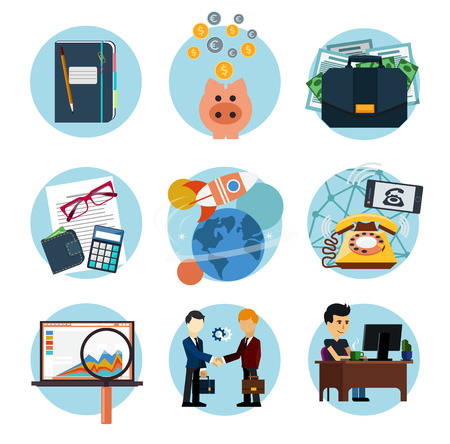 Set of flat icons of earnings, accounts, transport and market analysis, online business, documents, e-mail, idea, start up, analysis, meeting, performance, investment, marketing